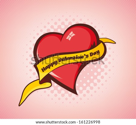 Heart with Banner Illustration for Valentines Day - stock vector