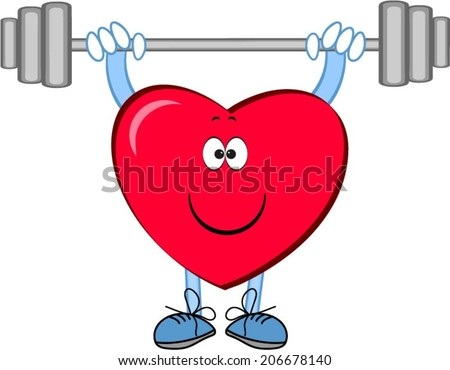 Heart with barbell - stock vector