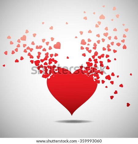 heart with burst effect, vector illustration - stock vector