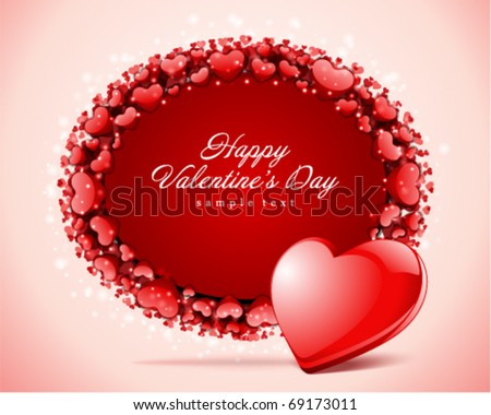 Heart with card  frame Valentine's day vector background - stock vector