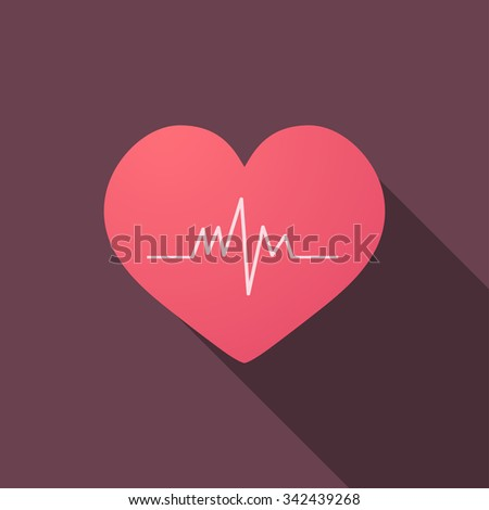 Heart with cardiogram icon, modern minimalistic flat design - stock vector