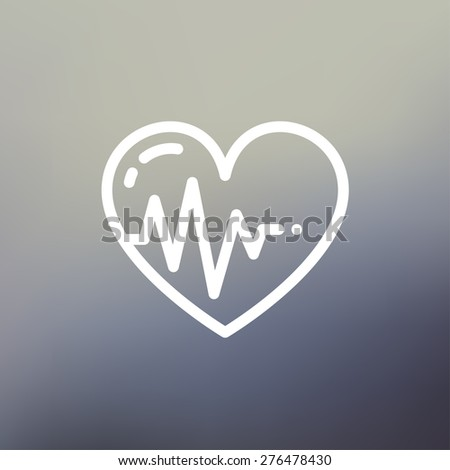 Heart with cardiogram icon thin line for web and mobile, modern minimalistic flat design. Vector white icon on gradient mesh background. - stock vector