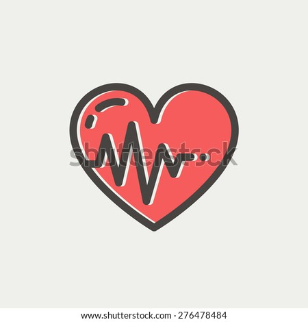 Heart with cardiogram icon thin line for web and mobile, modern minimalistic flat design. Vector icon with dark grey outline and offset colour on light grey background. - stock vector