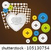 heart with clothing buttons and balloon text, vector illustration - stock photo