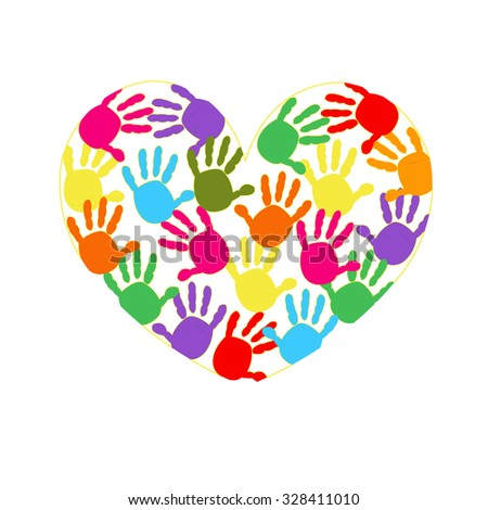 Heart with colorful hand prints vector background
