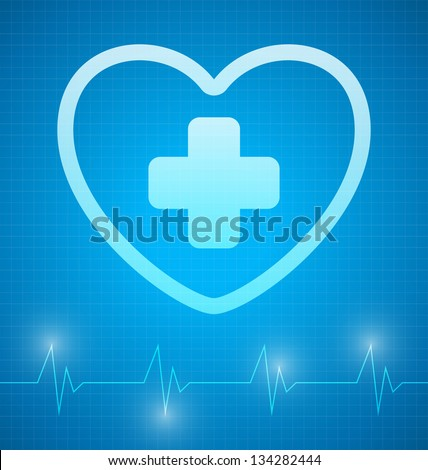 Heart with cross and with heartbeat graph - stock vector