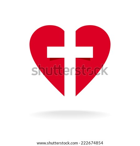 Heart with cross church logo template - stock vector