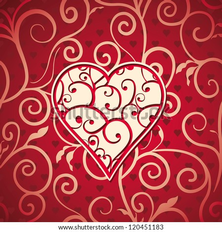 Heart with curves on seamless abstract  floral valentines background