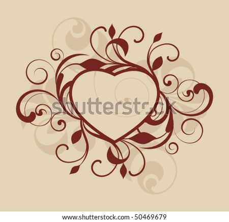 Heart with decorative elements on brown background - stock vector