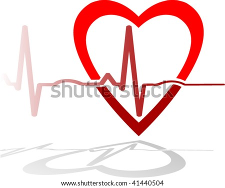 Heart with EKG - layered, no masks or meshes - stock vector