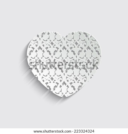 heart with floral -  vector icon with shadow on a grey background - stock vector