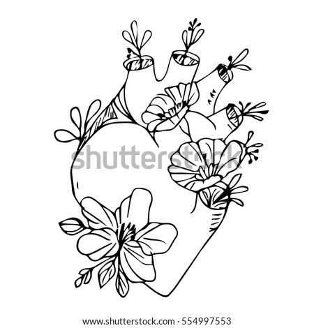 Heart Flowers On White Background Vector Vector 554997553 – Black and White Valentines Day Cards