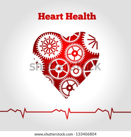 Heart with gears - stock vector