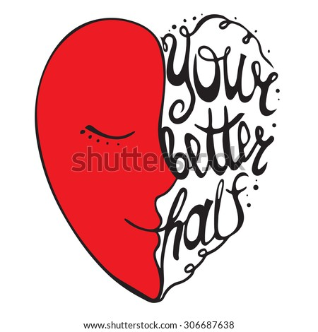 Heart with hand drawn typography poster. Romantic quote for valentines day card or save the date card, or home decor element. . Inspirational vector typography. - stock vector