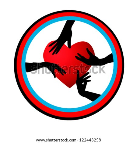 heart with hands - stock vector