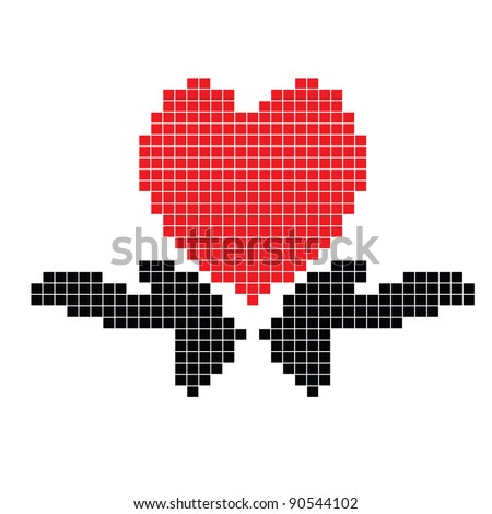 Heart with hands ,the scheme for embroidery - stock vector