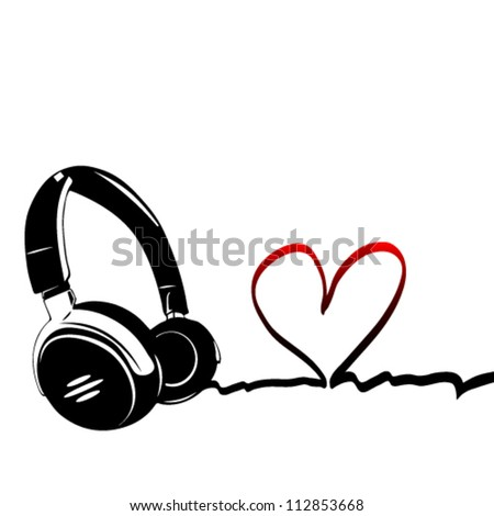Heart with headphones - the concept of a music lover - stock vector