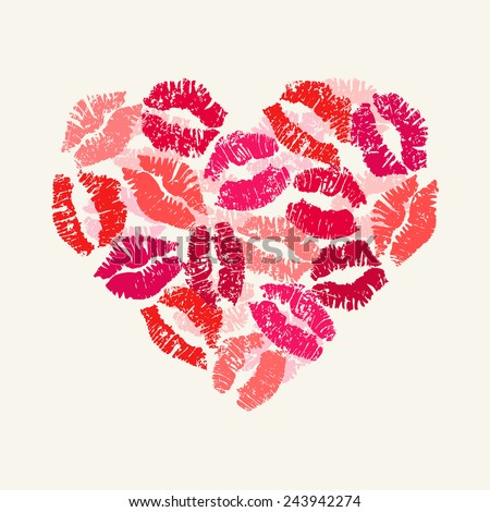 Heart with lipsticks prints. Happy Valentine's Day. Vector - stock vector