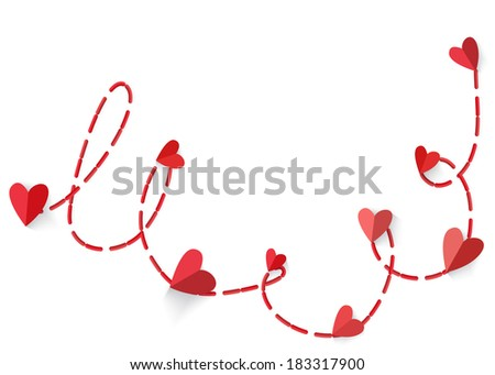 Heart with long shadow connected red dotted line isolated on white background. Vector EPS10. - stock vector