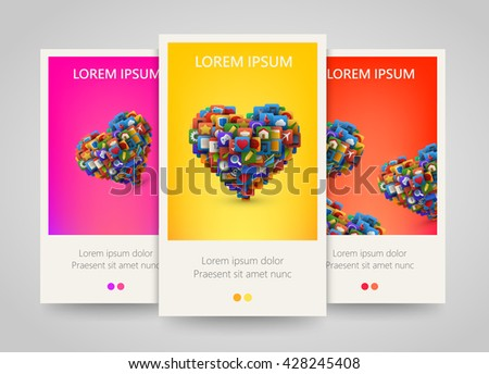 Heart with lot of application icons. Colorful banner set. Vector illustration - stock vector