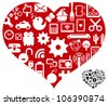 heart with love story - stock vector