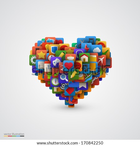 Heart with many application icons. Vector illustration - stock vector