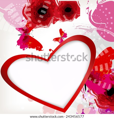 heart with place for text, butterflies, poppies