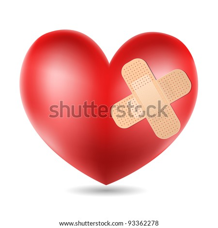 heart with plaster - stock vector