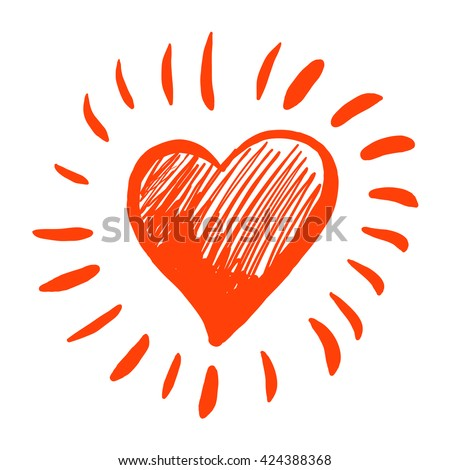Heart with rays on a white background. Gratitude, appreciation. - stock vector