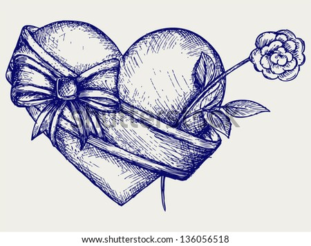 Heart with ribbon and flower. Doodle style - stock vector