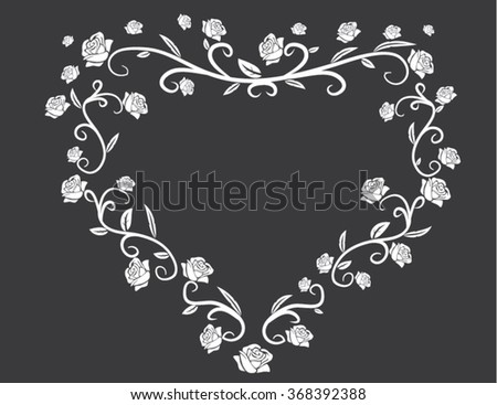 heart with roses white on gray background - stock vector
