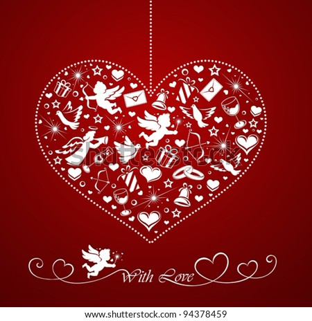 Heart with set of icons - stock vector