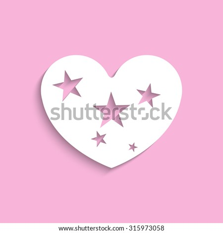Heart with stars. Vector icon. - stock vector