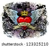 Heart with wings - stock vector