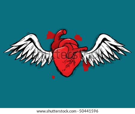 Heart with wings. - stock vector