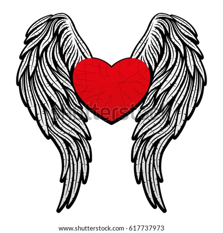 heart wings stock vector 617737973 shutterstock rh shutterstock com pictures of hearts with wings tattoos images of hearts with wings and halo
