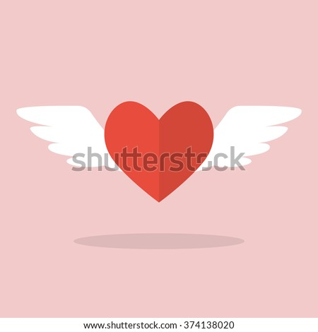 Heart with wings. Flat Style Vector Illustration - stock vector