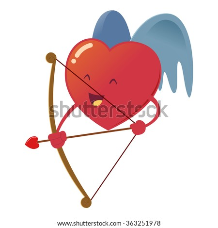 Heart with wings holding a bow and arrow, vector illustration