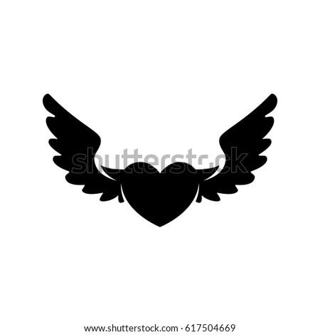Heart Wings Icon Vector Logo Illustration Stock Vector 617504669