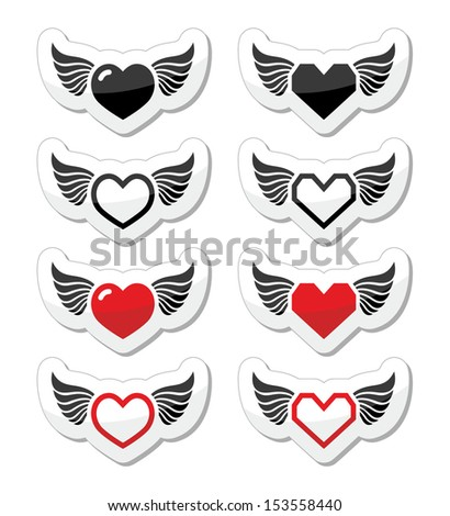 Heart with wings icons set - stock vector