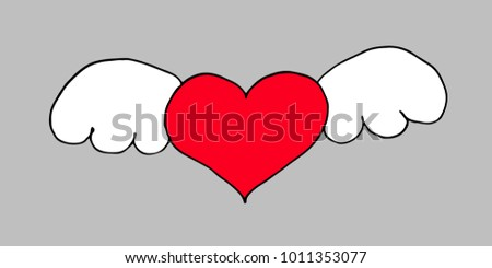 Heart with wings on the grey background for your design. Vector illustration.