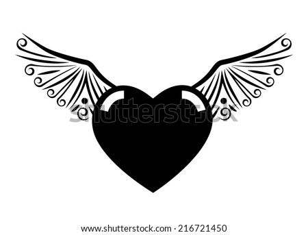 Heart with wings tattoo. EPS10 vector - stock vector