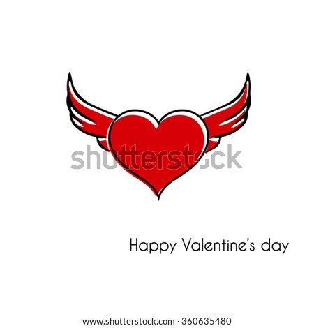 Heart with wings Valentine's day card