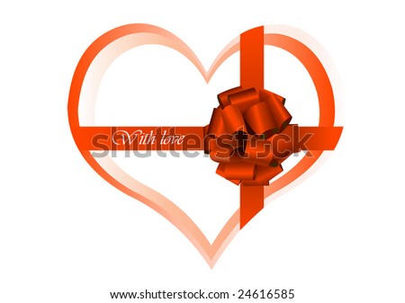 heart wrapped by silk tape - stock vector