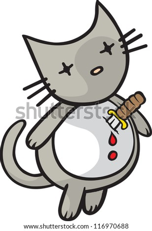 Heartache Kitty - stock vector