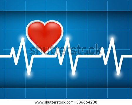 Heartbeat captured on cardiograph. Frequency, Wave Heart - stock vector