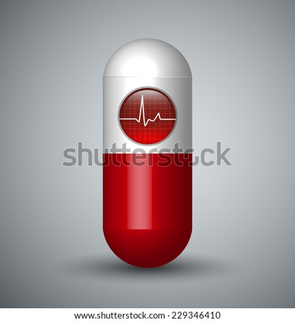Heartbeat / Cardiogram Sign Capsule Pill - stock vector