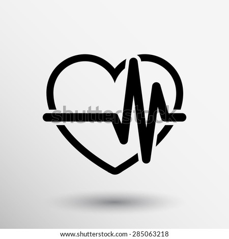 Heartbeat Echocardiography Cardiac exam Form of heart and heartbeat. - stock vector