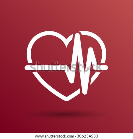 Heartbeat Echocardiography Cardiac exam Form of heart and heartbeat. - stock vector