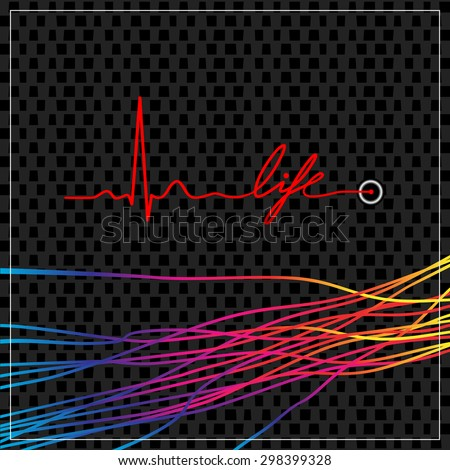 Heartbeat ekg line, pulse, writing the word life, with spectrum colored lines. Medical concept vector illustration.